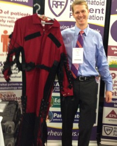 Limited Mobility Suit mimics stiffness and joint restriction of rheumatoid arthritis