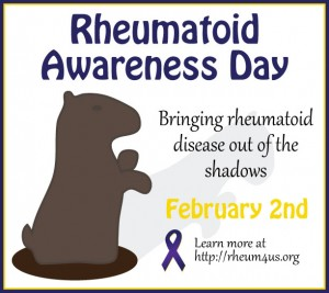 Rheumatoid Awareness Day Graphic with Groundhog
