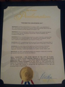 Proclamation of Rheumatoid Awareness Day in Plano, TX