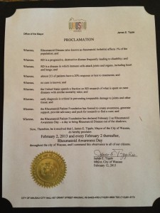 Rheumatoid Awareness Day Proclamation - Wausau, WI